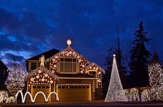 Stringing Holiday Lights with Safety