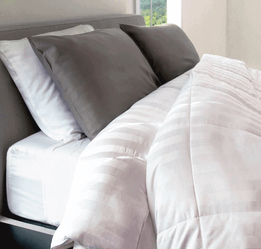 Cariloha Bamboo Duvet Comforter in White and Sheet Set in grey and white