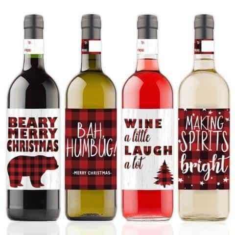 Plaid Christmas Wine Bottle Labels