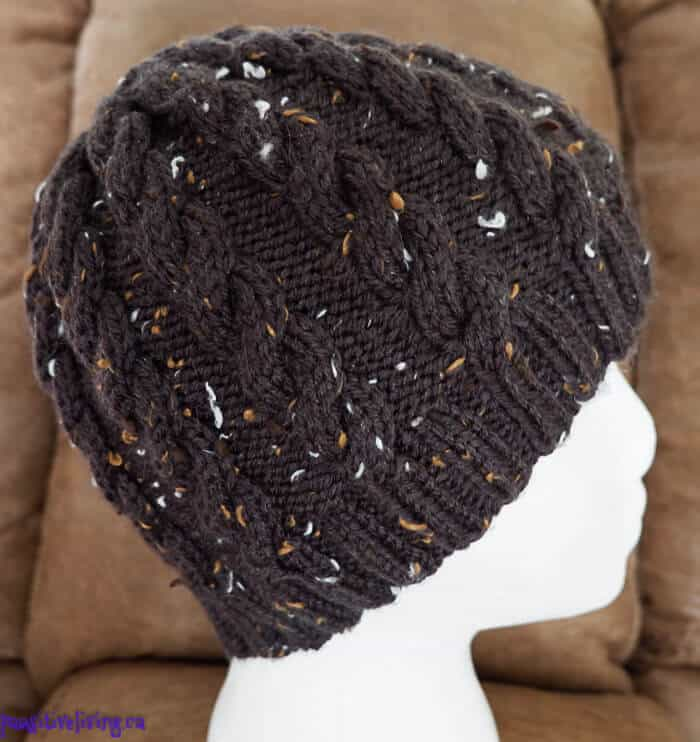 Knitted Cabled Skull Cap in black with speckles
