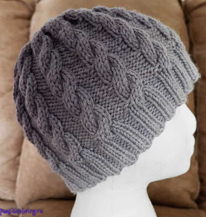 Knitted Cabled Skull Cap in Ombre grey