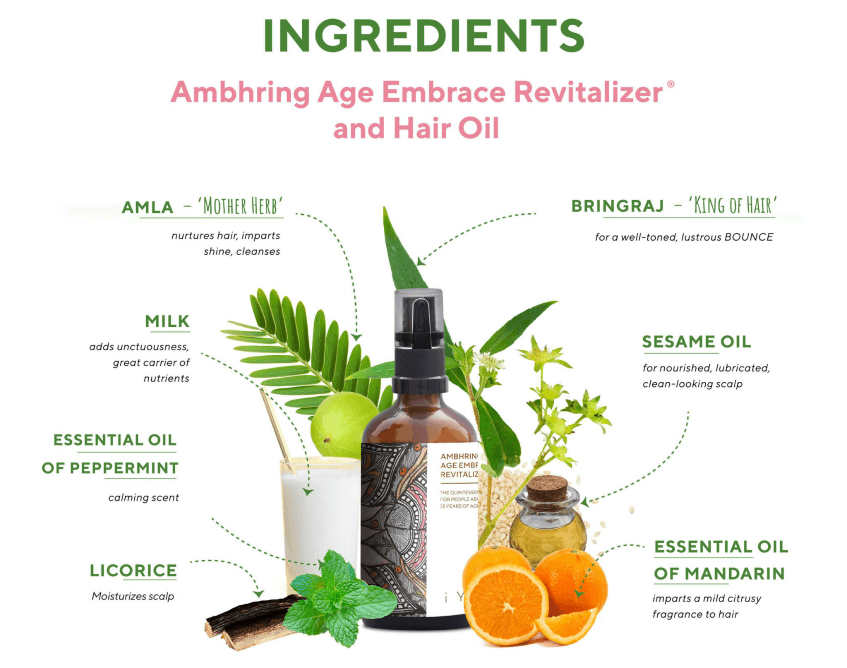 Ambhring Age Embrace Revitalizer and Hair Oil Ingredients