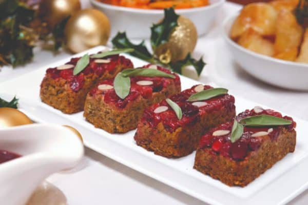 Individual Luxury Festive Roasts on a white platter. vegan holiday recipe