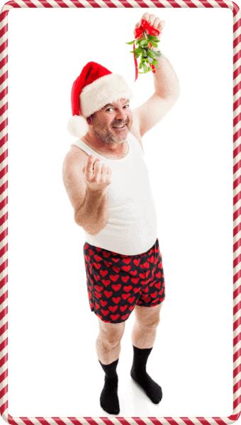 man in underwear holiday mistletoe - depositphotos