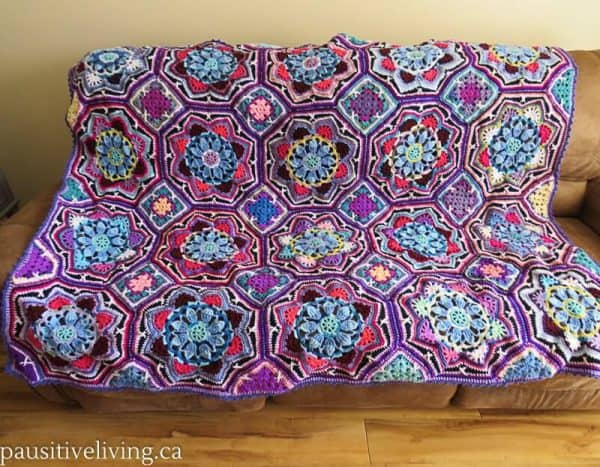 Persian Tile afghan made from leftover yarn
