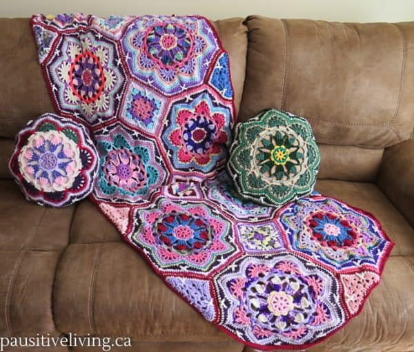 Persian tile throw and pillow covers made from scrap yarn