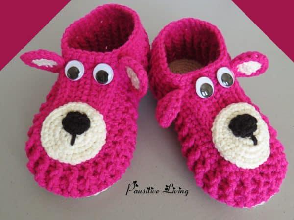 crochet animal slipper