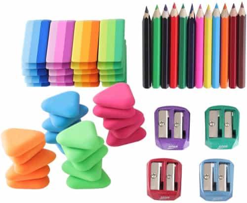 Pencil - Eraser - Sharpener set for school