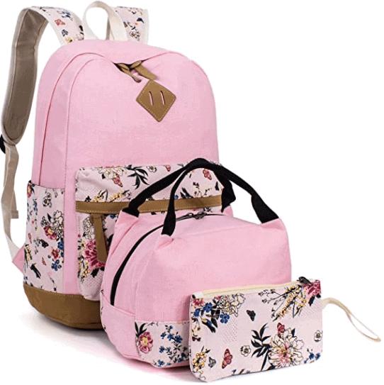 Pink Floral Backpack Set